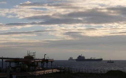 Oil tankers sit anchored off the Fos-Lavera oil hub near Marseille, France, January 19, 2016.