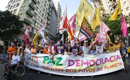 Participants in the 15th World Social Forum march in Porto Alegre, Brazil.
