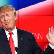 Donald Trump gestures during a Republican presidential primary debate.