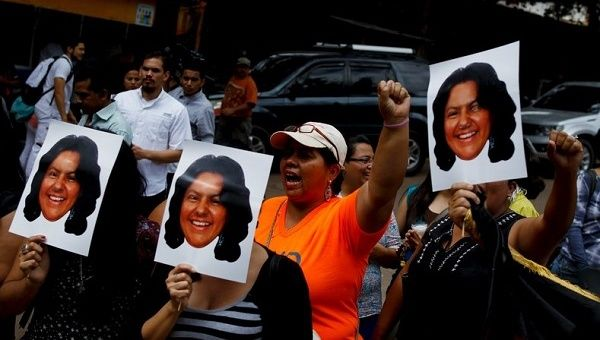 Dozens of people rallied in Guatemala City in front of the Honduran Embassy to demand justice for Berta Caceres