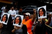 Dozens of people rallied in Guatemala City in front of the Honduran Embassy to demand justice for Berta Caceres' murder on March 3, 2016.