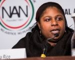 Samaria Rice, mother of Tamir Rice- who was shot to death by a police officer - speaks on a panel titled