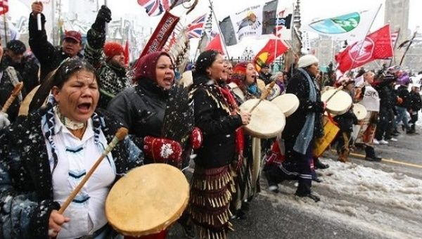 "Image of a 2012 ""Idle No More"" protest"