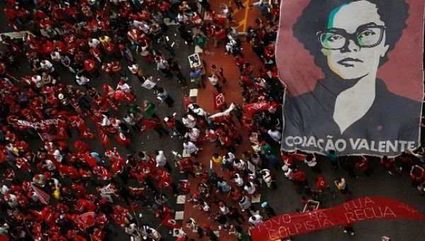 Members of labor unions protest during the National Day of Mobilization against the impeachment of Brazilian President Dilma Rousseff in Sao Paulo, Brazil.