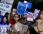 Students in Japan demand an end to war.