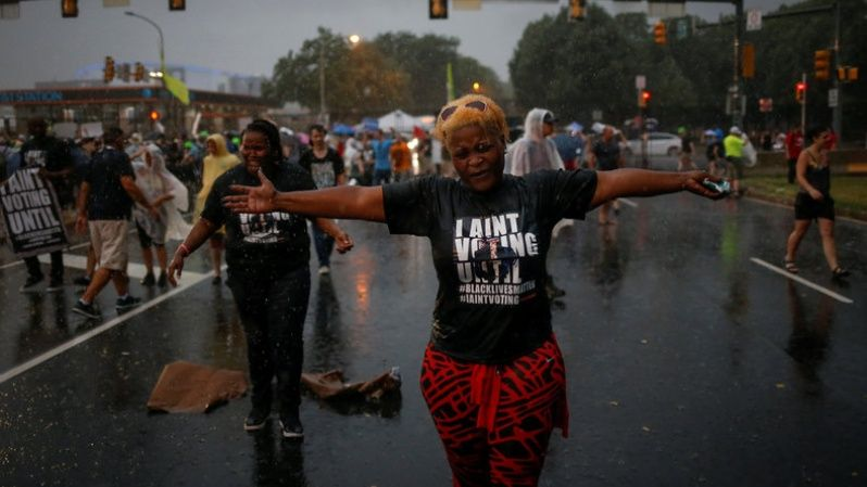 Many Black Lives Matters protesters were present and expressed their rejection for the two-party system that protects the impunity of killer police officers amidst heavy rain fall as they gathered outside the site of the 2016 Democratic National Convention in Philadelphia, Pennsylvania July 25, 2016.
