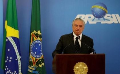 Brazil's interim President Michel Temer reacts during a statement to the media at the Planalto Palace in Brasilia, Brazil, June 6, 2016.