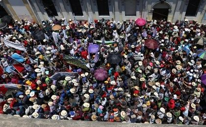 Indigenous and campesino protesters flood the streets in Guatemala city at the end of the 11-day March for Water on April 22, 2016.