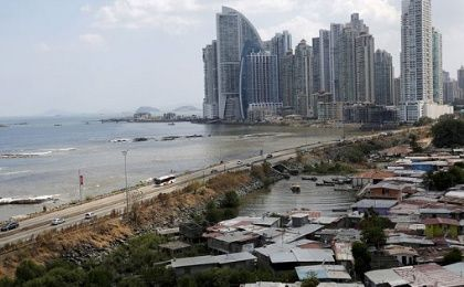 Panama is set to enjoy 5.9 percent economic growth this year, but is still marked by inequality as the Panama City skyline shows.