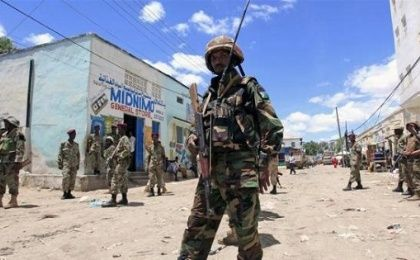 A Djibouti soldier serving in the African Union Mission in Somalia patrols the south central town of Beledweyne in Somalia, May 9, 2013.