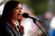 Former Argentine President Cristina Fernandez de Kirchner speaks during a rally outside the Federal Justice building where she attended court in Buenos Aires, Argentina.