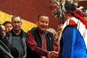 Grand Chief Stewart Phillip shakes the hands of First Nation leaders after they sign the Treaty Alliance Against Tar Sands Expansion.