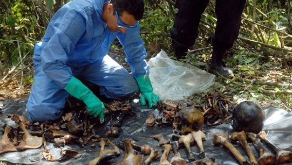 Colombian scientists examine the remains of three human bodies found in a mass grave in the village of San Cristobal, Colombia.