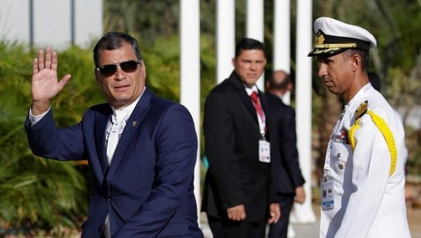 President Correa as he arrives fat the 17th Non-Aligned Summit in Venezuela.