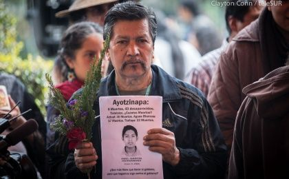 Family and supporters of Ayotzinapa students gathered on Friday at the National University of Anthropology and History