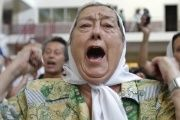 Hebe Bonafini, president of Argentina's Mothers of the Plaza de Mayo, protests at the site of a secret military dictatorship jail in Buenos Aires in 2008.