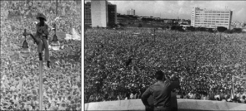 Left: Tens of thousands of Cubans commemorate the July 26, 1953, attack on the Moncada Barracks that kicked off the revolutionary fight on July 26, 1959. Right: On Sept. 2, 1960, over 1 million Cubans ratify the First Declaration of Havana, codifying the support of the Cuban people for the Revolution and opposition to U.S. imperialism.
