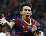 Barcelona's Lionel Messi celebrates after scoring against Manchester United during their Champions League final soccer match.