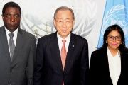 Prime Minister Enex Jean-Charles, U.N. Secretary-General Ban Ki-moon and Venezuelan Foreign Minister Delcy Rodriguez