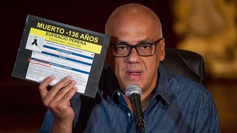 Jorge Rodriguez, in charge of overseeing the recall referendum for the government has accused the opposition of using signatures of deceased people.