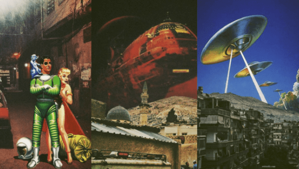 A collage of the work of Syrian artist Ayham Jabr.