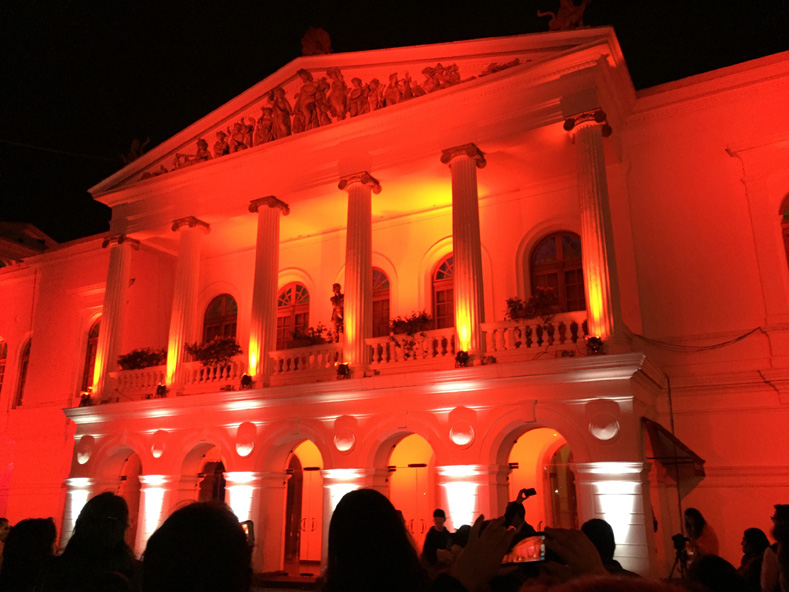 Sucre National Theatre in red.