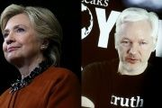 A composite image shows U.S. Democratic presidential candidate Hillary Clinton (L) and WikiLeaks founder Julian Assange.