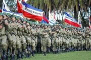 Uruguayan troops during a military parade in Montevideo to mark the 205th anniversary of the Battle of Las Piedras, a key event in Uruguay's independence struggle.