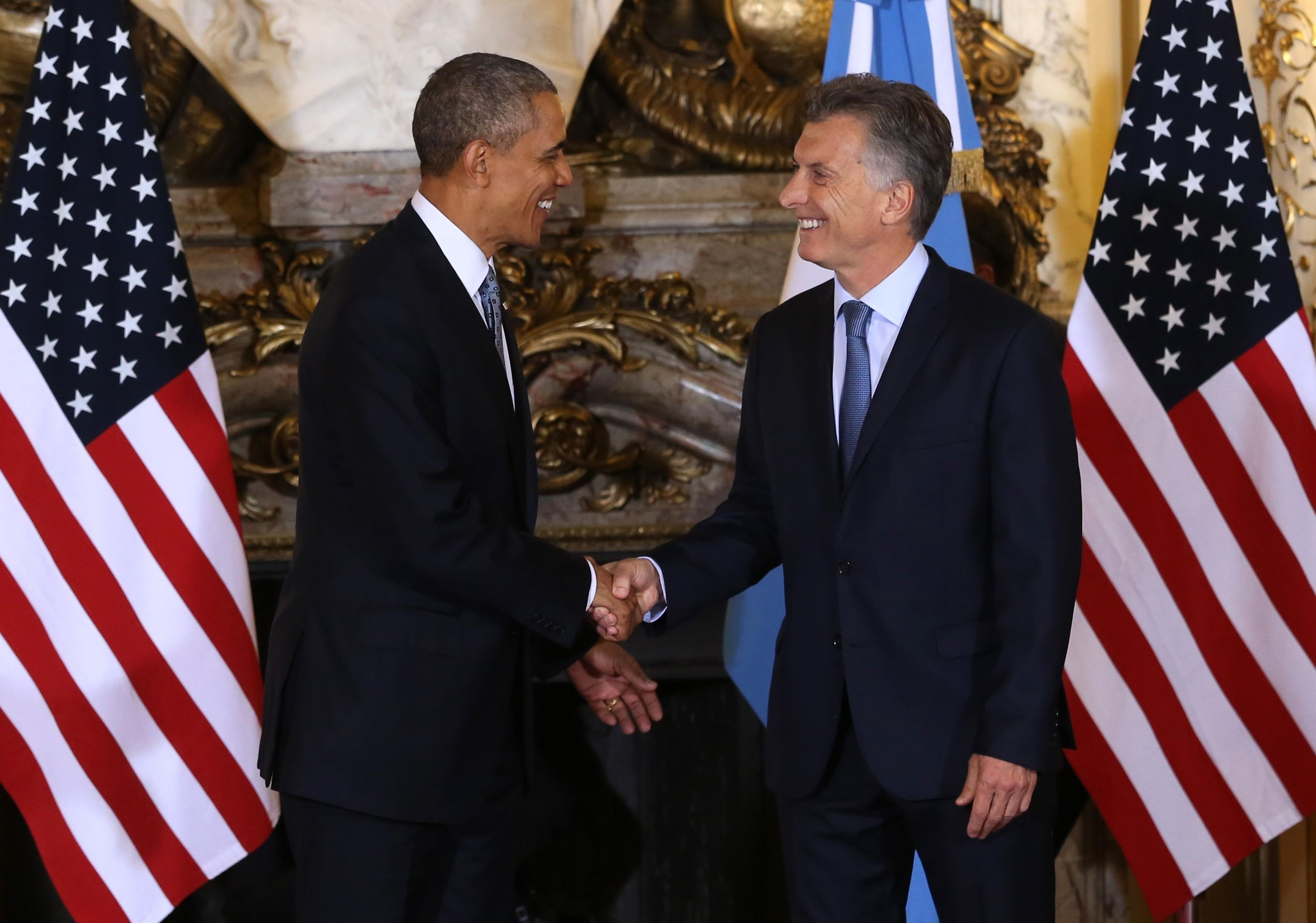 U.S. President Barack Obama meets with Argentina President Mauricio Macri during his March 2016 visit.