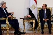 Egypt's President Abdel Fattah al-Sisi meets U.S. Secretary of State John Kerry at the presidential palace in Cairo, Egypt May 18, 2016.