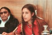 Winona LaDuke addresses a U.N. conference on discrimination against Indigenous populations in the Americas, Geneva, Switzerland, Sept. 1977.