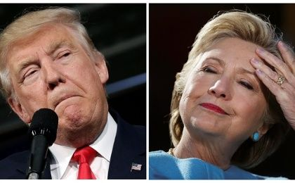 U.S. presidential candidates Donald Trump and Hillary Clinton attend campaign rallies in a combination of file photos.
