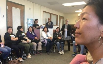 Ai-Jen meets with domestic workers in Colorado to discuss raising the minimum wage and blocking Trump from being elected.