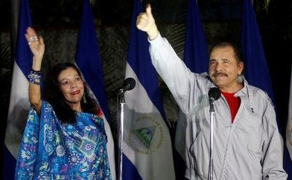 Daniel Ortega and Rosario Murillo after casting their vote at a polling station during Nicaragua