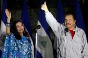 Daniel Ortega and Rosario Murillo after casting their vote at a polling station during Nicaragua's presidential election in Managua Nov. 6, 2016.
