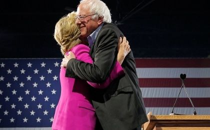 U.S. Democratic presidential nominee Hillary Clinton is joined by U.S. Senator Bernie Sanders at a campaign rally in Raleigh, North Carolina, U.S.