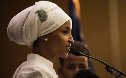 Ilhan Omar, a candidate for State Representative for District 60B in Minnesota, gives an acceptance speech on election night.