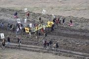 Protesters gather near a pipeline being built by a group of companies led by Energy Transfer Partners LP at a construction site in North Dakota before being confronted by police.