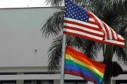 Both the pride and U.S. flags fly near the U.S. embassy in Costa Rica.