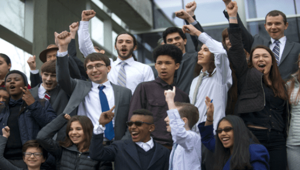The 21 youth plaintiffs after the initial hearing on March 9 in Eugene, Oregon