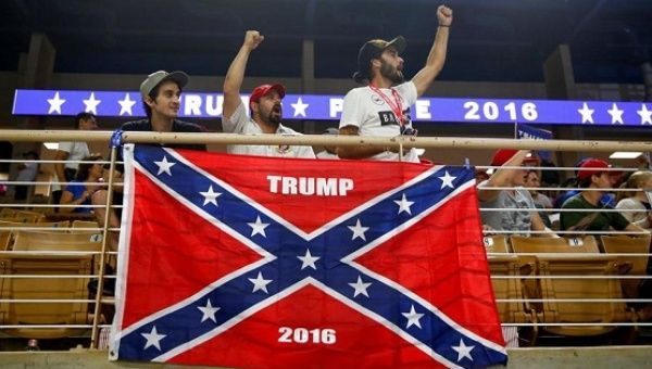Trump supporters with the Confederate flag.