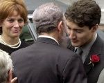 Fidel Castro embraces Justin Trudeau before his father Pierre Trudeau's funeral in Montreal in 2000.