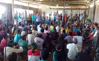 Indigenous assembly discussing protest course of action
