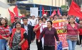 Workers marched towards the Ministry of Economics and Finance