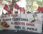 Members of the Cuyo Landless Workers' Union march demanding land and water for campesinos in an undated photo.
