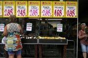 A woman looks on prices at a food market in Rio de Janeiro, Brazil, Jan. 21, 2016