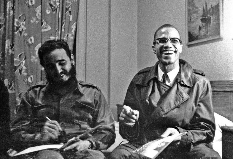 Fidel with U.S. Black leader Malcolm X in September 1960 before a U.N. General Assembly meeting. Fidel would cross paths with many other history makers in his more than 50 years of political leadership.