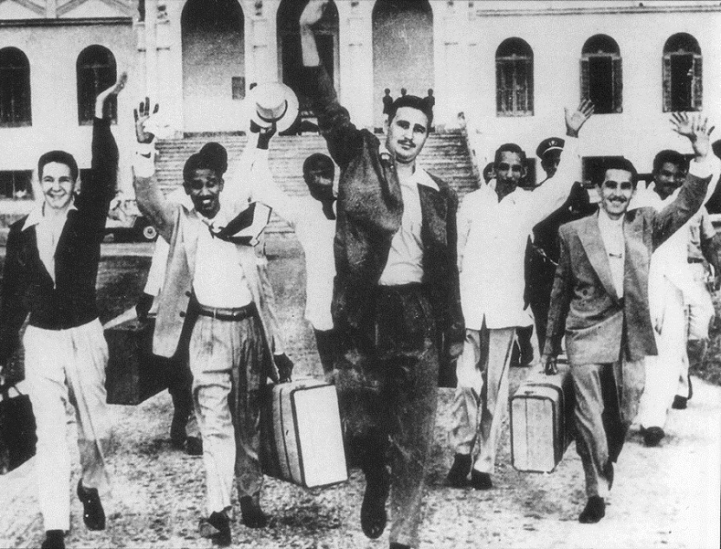 Raul Castro (far left), Fidel Castro (center) and other Moncada rebels released from prison in May 1955. While in law school, Fidel organized a movement that sought to inspire a rebellion against the Batista regime. The armed assault on the Moncada police barracks in 1953 failed, but it helped to launch the movement that would lead to the victory of the revolution.