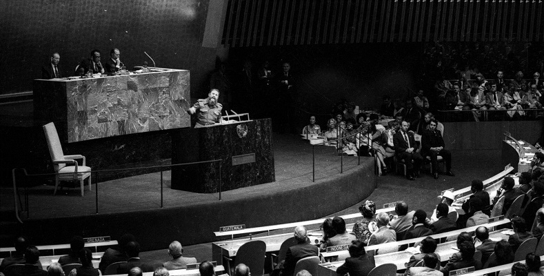 Fidel speaks to the United Nations General Assembly as part of the Non-Aligned Movement on Oct. 12, 1979. His speeches became legendary for both their content as well as their length, often lasting several hours.