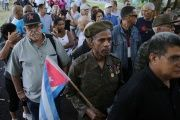 People stand in line to pay tribute to Cuba's late President Fidel Castro in Revolution Square in Havana, Nov. 28, 2016.